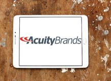 Acuity Brands logo. Logo of Acuity Brands on samsung tablet on wooden background. Acuity Brands is an electronics manufacturing company Stock Photo