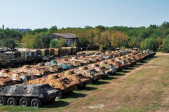 A acumulação de equipamento militar Fotografia de Stock