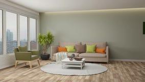 Acumulación de la sala de estar moderna stock de ilustración