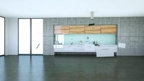 Acumulando o design de interiores moderno 3d da cozinha