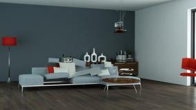 Acumulando o design de interiores moderno 3d da sala de visitas