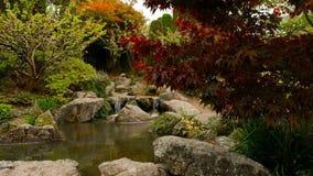 Acumule con la pequeña cascada en el jardín de Japón, foco en primero plano almacen de video