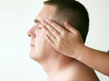 Acupressure - Head. Acupressure therapy. Massage where the pressure is applied to the man's head. I will be very happy if you let me know when you use this image Royalty Free Stock Photography