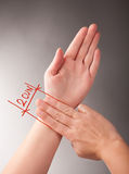 Acupuncture 2 CUN. Acupressure, acupuncture. How to measure 2 CUN, a traditional Chinese unit of length. Its traditional measure is the width of a person's thumb Royalty Free Stock Photos