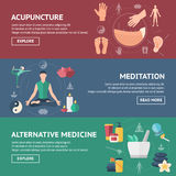 Acupuncture Banner Set Stock Photos