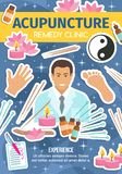 Acupuncture remedy clinic, spa salon and doctor vector illustration