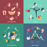 Acupuncture Composition Icon Set Stock Image