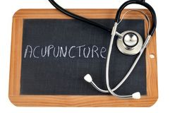Acupuncture written in French on a school slate vector illustration