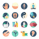 Acupuncture Flat Icon Set Stock Photos