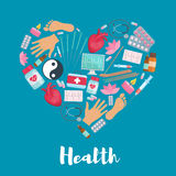 Acupuncture medicine heart health vector poster Stock Photo