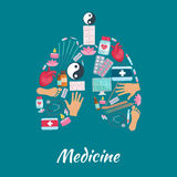 Acupuncture medicine items poster of lungs symbol Royalty Free Stock Photography