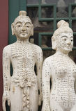 Acupuncture model. Ancient acupuncture  models, male and female Royalty Free Stock Photography
