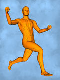 Acupuncture model M-POSE M4ay-24-2, 3D Model. Human Poses, Meridians and Acupoints,  Human Body,   Acupuncture Background Stock Photo