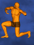 Acupuncture model M-POSE Ma-s-90-01.png , 3D Model. Human Poses, Meridians and Acupoints, Human Body, Acupuncture Background, Blue Background Stock Photos