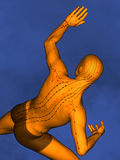 Acupuncture model M-POSE Ma-s-90-10.png , 3D Model. Human Poses, Meridians and Acupoints, Human Body, Acupuncture Background, Blue Background Stock Photography