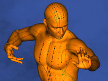 Acupuncture model M-POSE Ma-s-90-04.png , 3D Model. Human Poses, Meridians and Acupoints, Human Body, Acupuncture Background, Blue Background Stock Photos