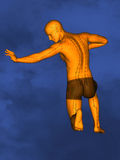 Acupuncture model M-POSE Ma-s-90-06.png , 3D Model. Human Poses, Meridians and Acupoints, Human Body, Acupuncture Background, Blue Background Royalty Free Stock Photography