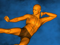 Acupuncture model M-POSE Vfm-1-2, 3D Model. Human Poses, Meridians and Acupoints, Human Body, Acupuncture Background, Blue Background Royalty Free Stock Photography