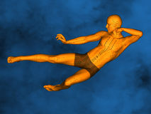 Acupuncture model M-POSE Vfm-1-3, 3D Model. Human Poses, Meridians and Acupoints, Human Body, Acupuncture Background, Blue Background Stock Images