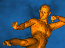 Acupuncture model M-POSE Vfm-1-8, 3D Model. Human Poses, Meridians and Acupoints, Human Body, Acupuncture Background, Brown Background Stock Photography