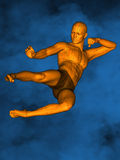 Acupuncture model M-POSE Vfm-1-1, 3D Model. Human Poses, Meridians and Acupoints, Human Body, Acupuncture Background, Brown Background Stock Photos