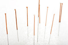 Acupuncture needle. The traditional medical technique, health care and medical treatment Royalty Free Stock Image