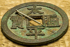 Acupuncture needle on chinese coin Stock Photography