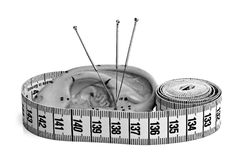 Acupuncture needles with measure Stock Images
