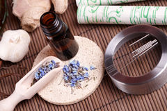 Free Acupuncture Needles, Moxa Sticks And TCM Herbs Royalty Free Stock Photos - 22704438