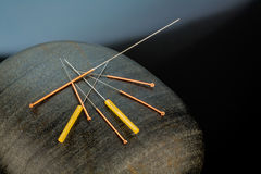 Acupuncture needles royalty free stock images