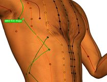 Acupuncture Point GB23 Zhejin, 3D Illustration, White Background stock photo
