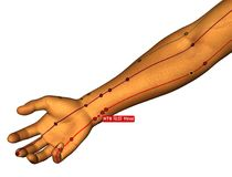 Acupuncture Point HT6 Yinxi, 3D Illustration, White Background stock photography