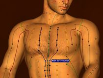 Acupuncture Point KI21 Youmen, 3D Illustration, Brown Background royalty free stock images