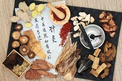 Acupuncture Therapy with Chinese Herbs stock photography
