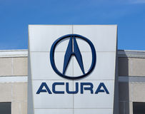 Acura Automobile Dealership Sign and Logo Stock Photography