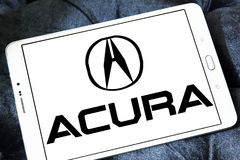 Acura car logo. Logo of acura car brand on samsung tablet royalty free stock image