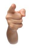 acusado Señalando la mano aislada en blanco Imagen de archivo