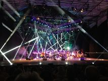 Acustic-Konzert im Wald Stockbild
