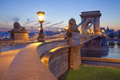 Łańcuszkowy most, Budapest. Obrazy Stock
