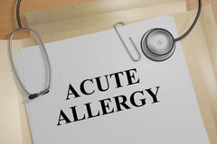 Acute Allergy concept. 3D illustration of ACUTE ALLERGY title on medical document Stock Image