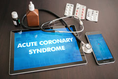 Acute coronary syndrome (heart disorder) diagnosis medical conce. Pt on tablet screen with stethoscope Royalty Free Stock Photos