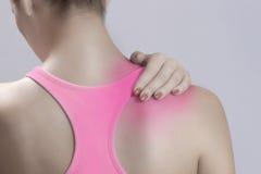 Acute neck pain royalty free stock photos