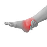 Acute pain in ankle. Woman holding hand to spot of ankle-aches. Stock Image