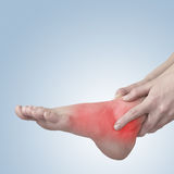 Acute pain in ankle. Woman holding hand to spot of ankle-aches. Stock Photos