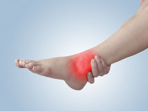Acute pain in ankle. Acute pain in a woman ankle. Woman holding hand to spot of ankle-aches Stock Images