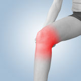 Acute pain in a knee. Female holding hand to spot of knee-aches. Royalty Free Stock Image