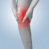 Acute pain in a knee. Female holding hand to spot of knee-aches. Stock Photography