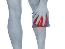 Acute pain in a man calf Royalty Free Stock Photo