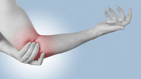 Acute pain in a man elbow. Stock Photos