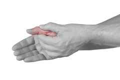 Acute pain in a man finger. Royalty Free Stock Images